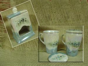 Conjunto de chá-caneca alta infusora e porta-chá